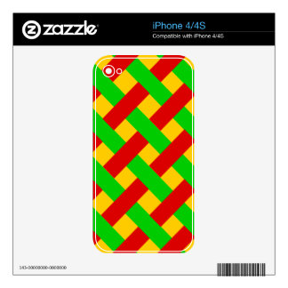 Woven Rasta Pattern Skin For iPhone 4