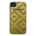 Woven Rattan Diamonds Pattern Custom Name Cover iPhone 4 Case
