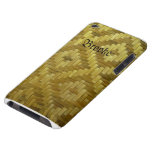 Woven Rattan Diamonds Pattern Custom Name Cover Barely There iPod Cases