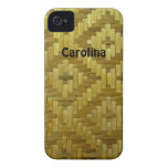 Woven Rattan Diamonds Pattern Custom Name Cover iPhone 4 Case-Mate Case