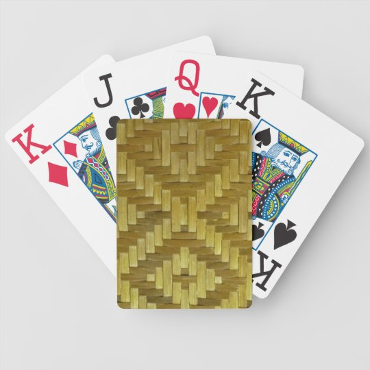 Woven Rattan Mat Look Tropical Playing Cards Deck