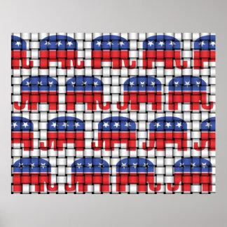 Woven Republican Elephants Poster