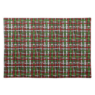 Woven Rough Seasonal Burlap Red Green White Cloth Placemat