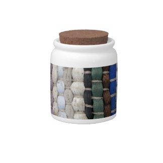 Woven Rug Decorative Ceramic Jar With Cork Lid Candy Jar