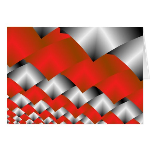 Woven Silver and Red Fractal Art Cards