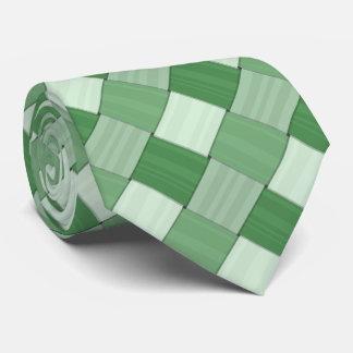 Woven Spring Green Diagonal Tiles Tie
