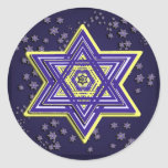 "Woven Star of David Stickers<br><div class=""desc"">These stickers feature an intricately woven Magen David in blue and yellow on a field of smaller stars  Works well on round or square.  Perfect for Hanukkah!</div>"