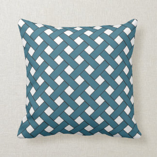Woven/Wicker-look Pattern: Cadet Blue and White Throw Pillow