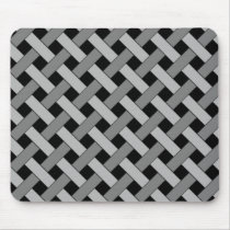 Woven/Wicker-look Pattern in Black and Grays Mouse Pad