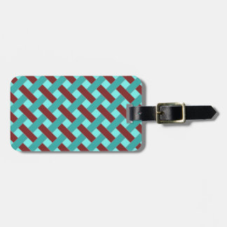 Woven/Wicker-look Pattern in Bordeaux and Aqua Luggage Tag