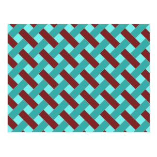 Woven/Wicker-look Pattern in Bordeaux and Aqua Postcard