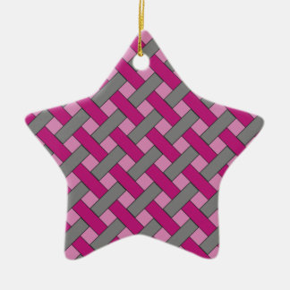 Woven/Wicker-look Pattern: Pink, Gray and Black Ceramic Ornament