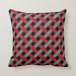 Woven/Wicker-look Pattern: Red, Gray and Black Throw Pillow