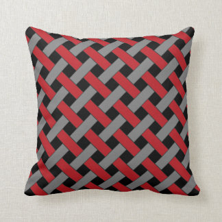Woven/Wicker-look Pattern: Red, Gray and Black Pillows