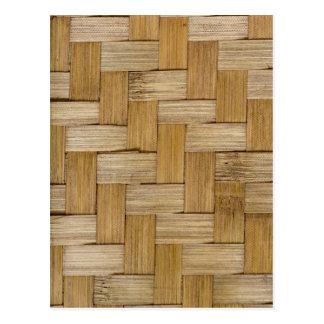 Woven wood texture postcard