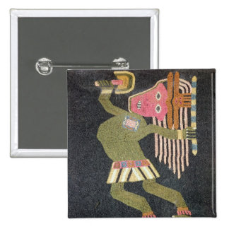 Woven wool dancer with baton, Paracas tribe 2 Inch Square Button