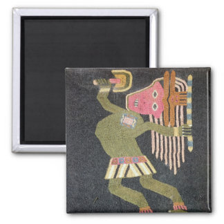Woven wool dancer with baton, Paracas tribe 2 Inch Square Magnet