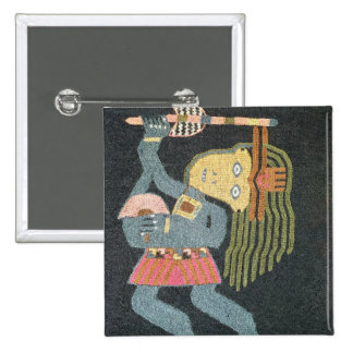 Woven wool dancer with baton, Paracas tribe Button