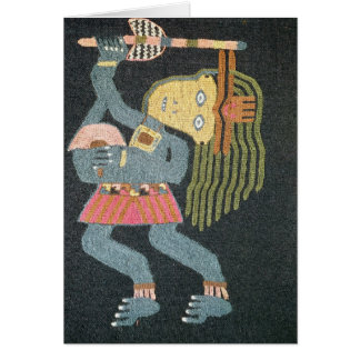 Woven wool dancer with baton, Paracas tribe Card