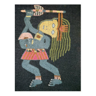 Woven wool dancer with baton, Paracas tribe Postcard