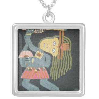 Woven wool dancer with baton, Paracas tribe Silver Plated Necklace