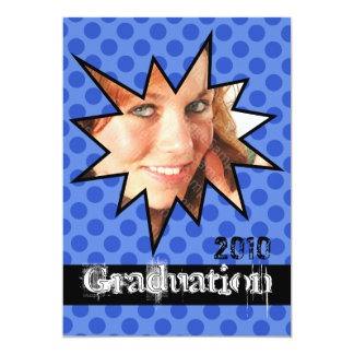 WOW Blue Open House Party Graduation Invitations