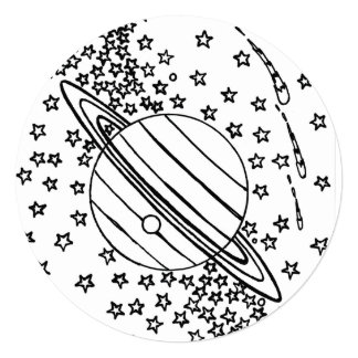 WOW! Coloring page Colorful Space Stars sun planet Card
