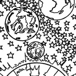 coloring page colorful space stars sun planet paper napkin