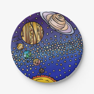 WOW! Coloring page Colorful Space Stars sun planet Paper Plate