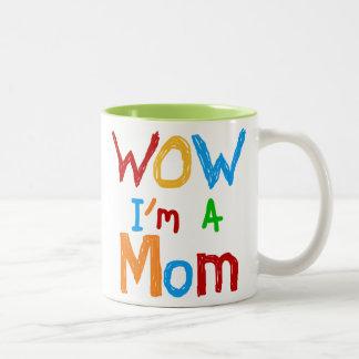 WOW I'm a Mom T-shirts and GIfts Two-Tone Coffee Mug