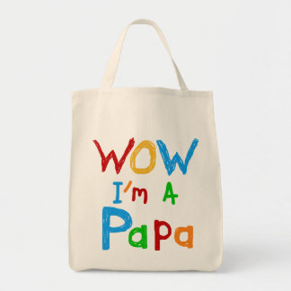 Wow I'm a Papa Tshirts and GIfts Grocery Tote Bag