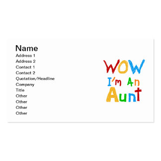 WOW I'm an Aunt T shirts and Gifts Double-Sided Standard Business Cards (Pack Of 100)