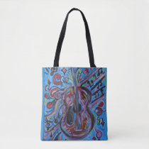 Wow Jazzy Blue  Guitar Folk Art Tote Bag