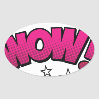 wow oval sticker