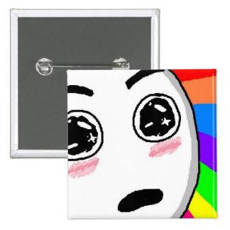 Wow Rainbow Comic Face Pinback Button