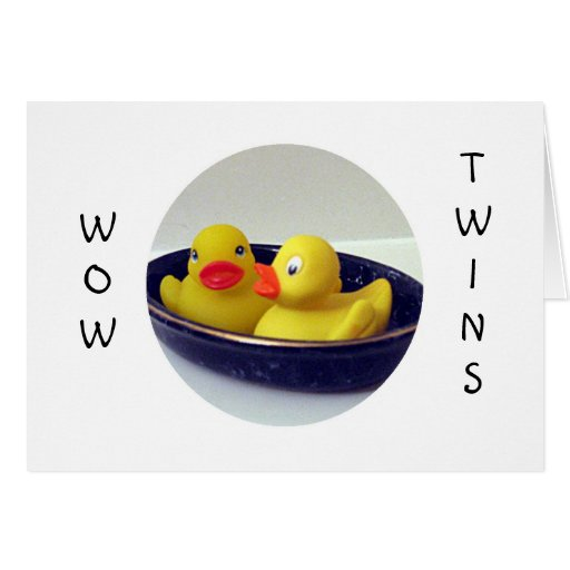 "WOW ""TWINS"" - DOUBLE HUGS AND LOVE GREETING CARD"