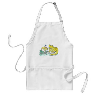 Wow, What is That? Exclaims Yellow Tiger Kitty Adult Apron