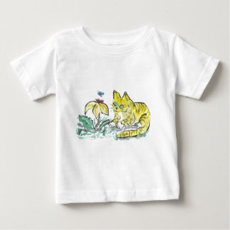 Wow, What is That? Exclaims Yellow Tiger Kitty Baby T-Shirt