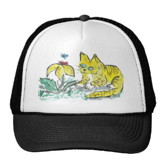 Wow, What is That? Exclaims Yellow Tiger Kitty Trucker Hat