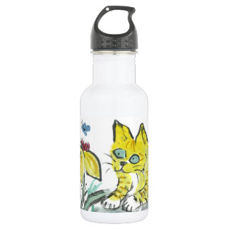 Wow, What is That? Exclaims Yellow Tiger Kitty Water Bottle