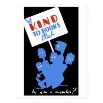 "WPA - ""Be Kind to Books Club"" Postcard"