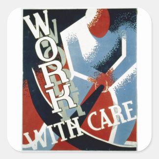WPA - caja fuerte del trabajo Pegatina Cuadradas Personalizadas