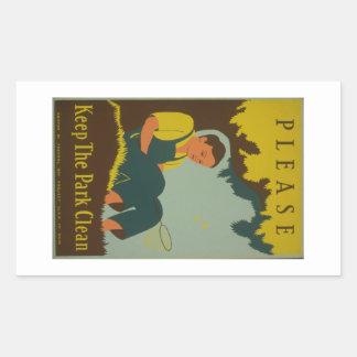 WPA - Keep the Park Clean Rectangular Sticker