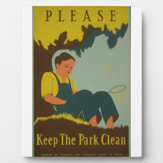 WPA - mantenga el parque limpio Placas Para Mostrar