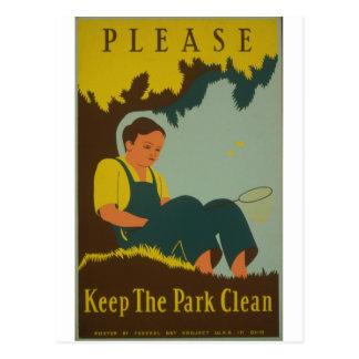 WPA - mantenga el parque limpio Tarjetas Postales