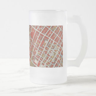 WPA map of central Los Angeles Frosted Glass Beer Mug