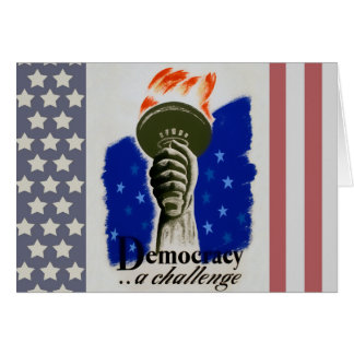 """WPA Poster """"Democracy.... A Challenge"""" Card"""