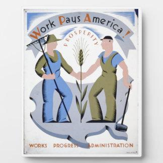 WPA - trabajo América Placa De Plastico