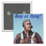 WPA Tuskegee African American Airmen of WW2 2 Inch Square Button