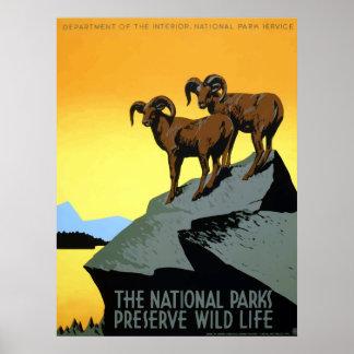 WPA Vintage National Parks Wildlife Travel Poster